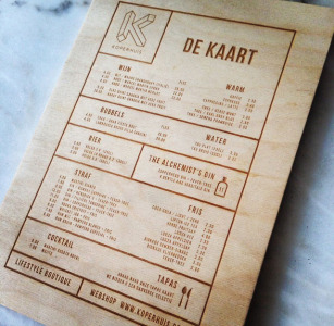 Carte de menu (en bois)